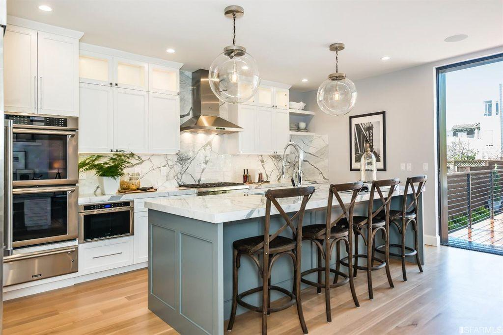 Kitchen Flat Panel Cabinets Complex Marble San