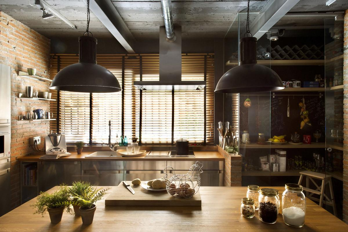 Kitchen Island Loft Style Home Terrassa Spain