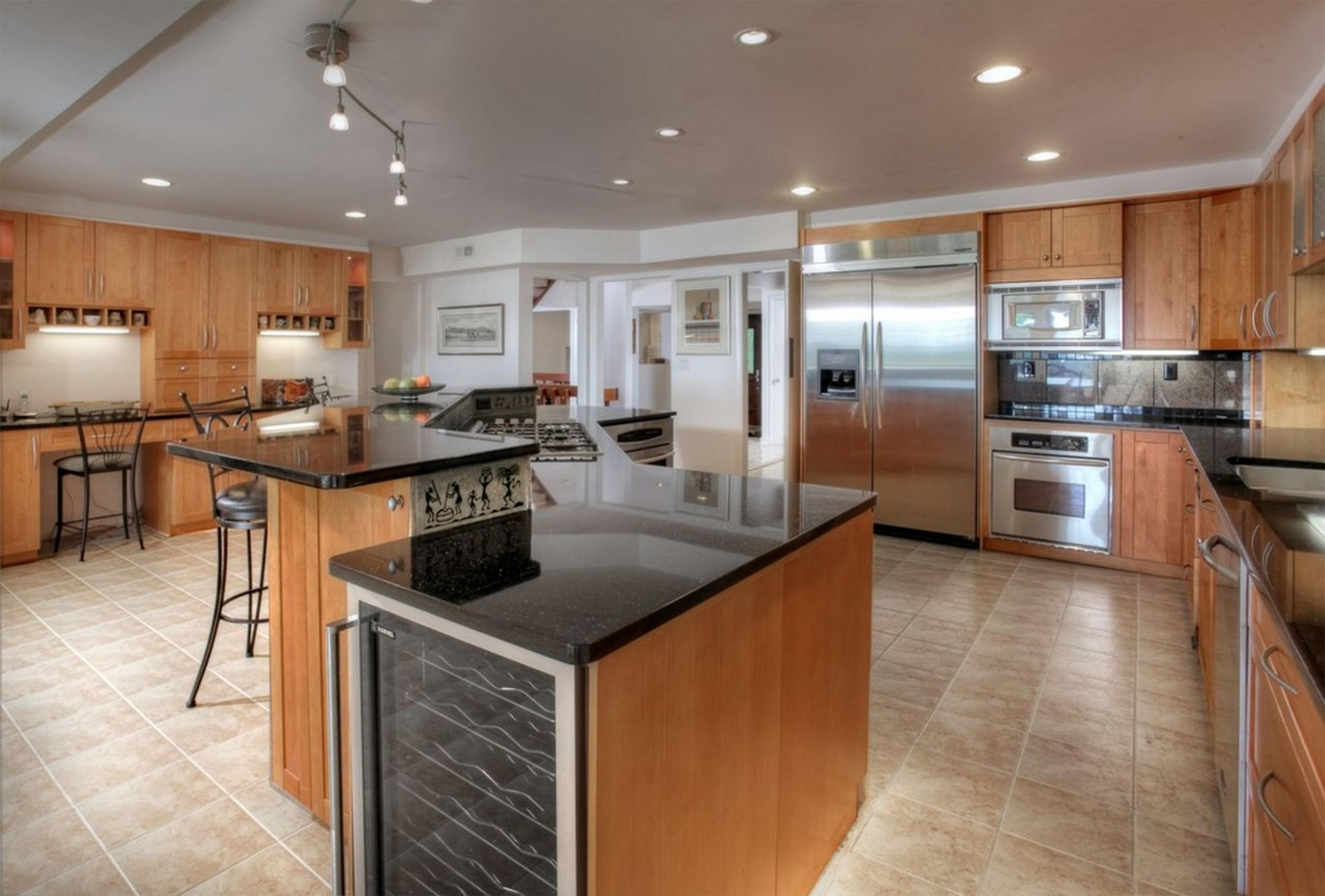 Kitchen Rustic Blue High Ceiling Shaped