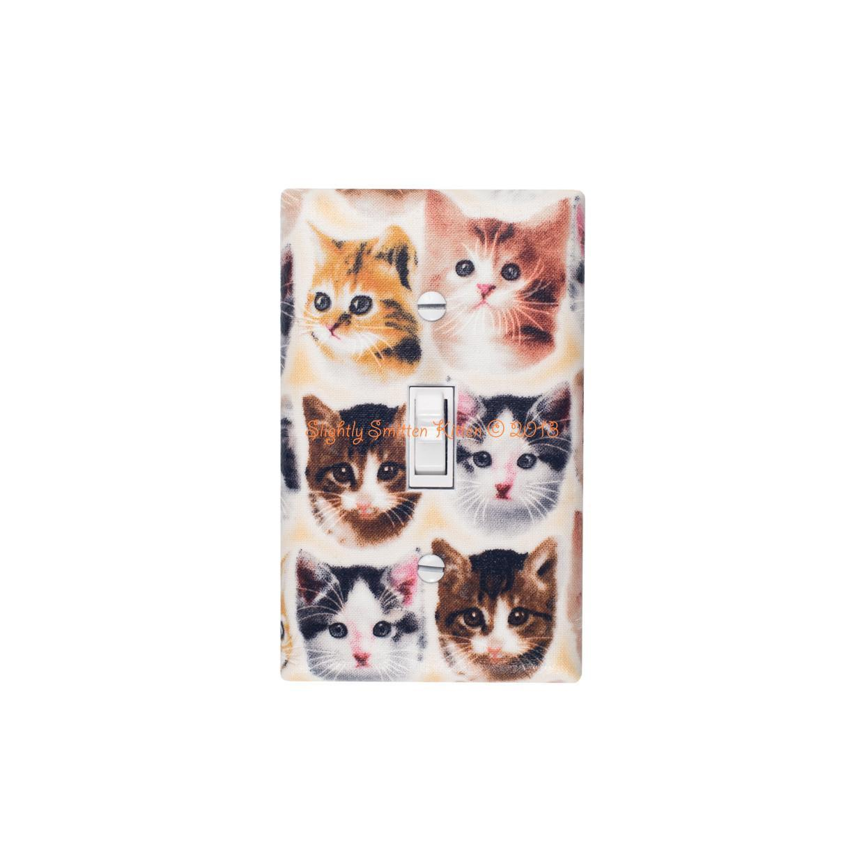 Kitten Face Light Switch Plate Cover Girls Room Cat Lover