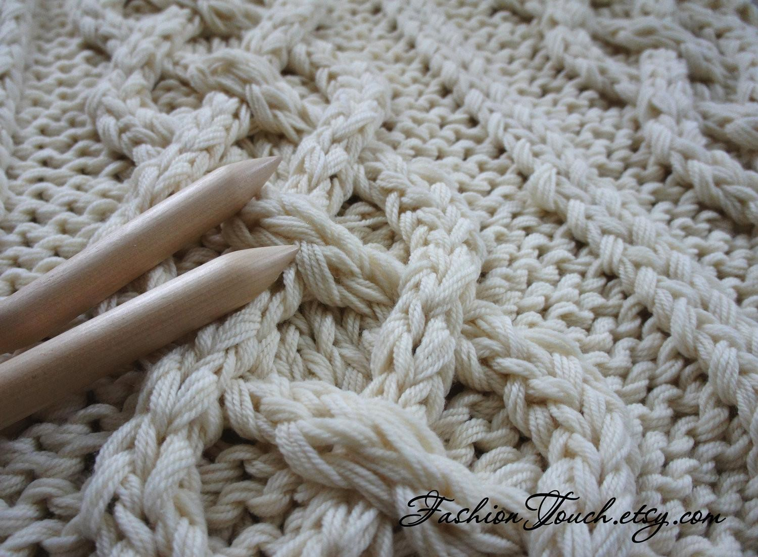 Knit Blanket Cable Throw