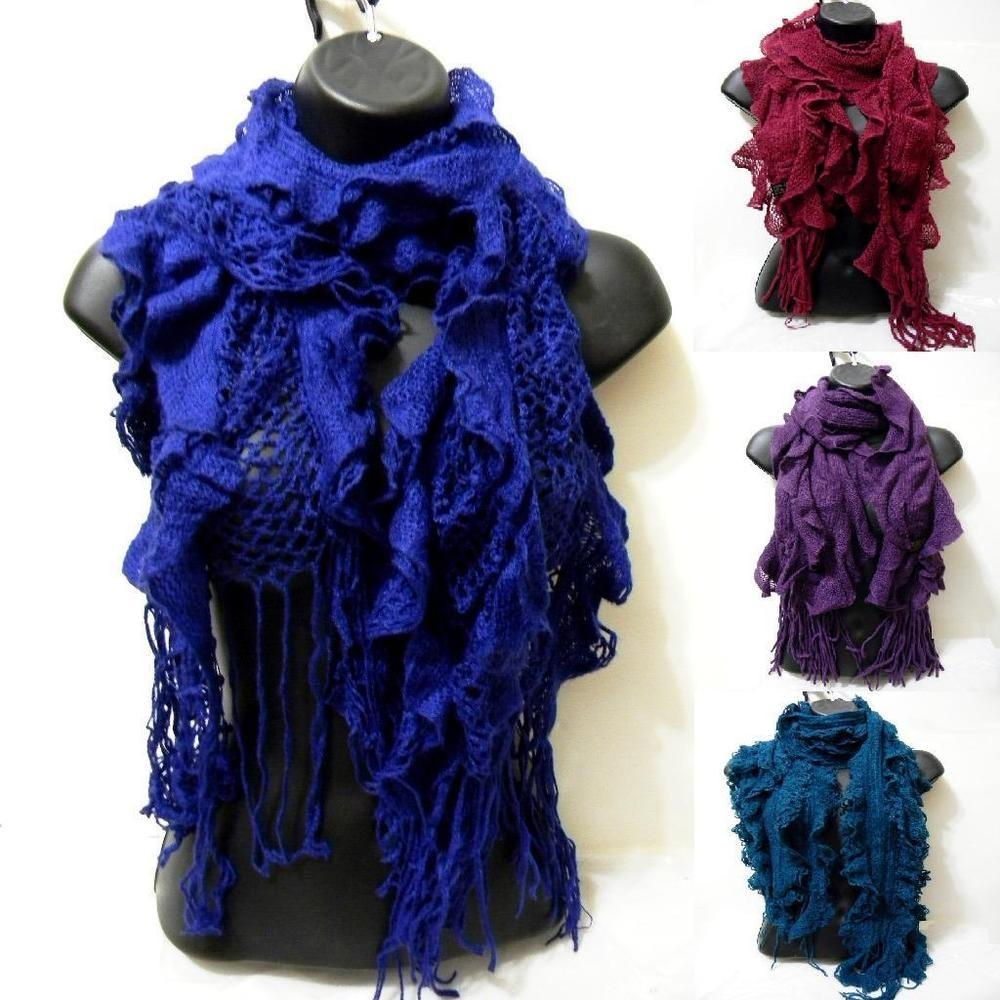Knitted Design Ruffle Tassels Pom Assorted Winter