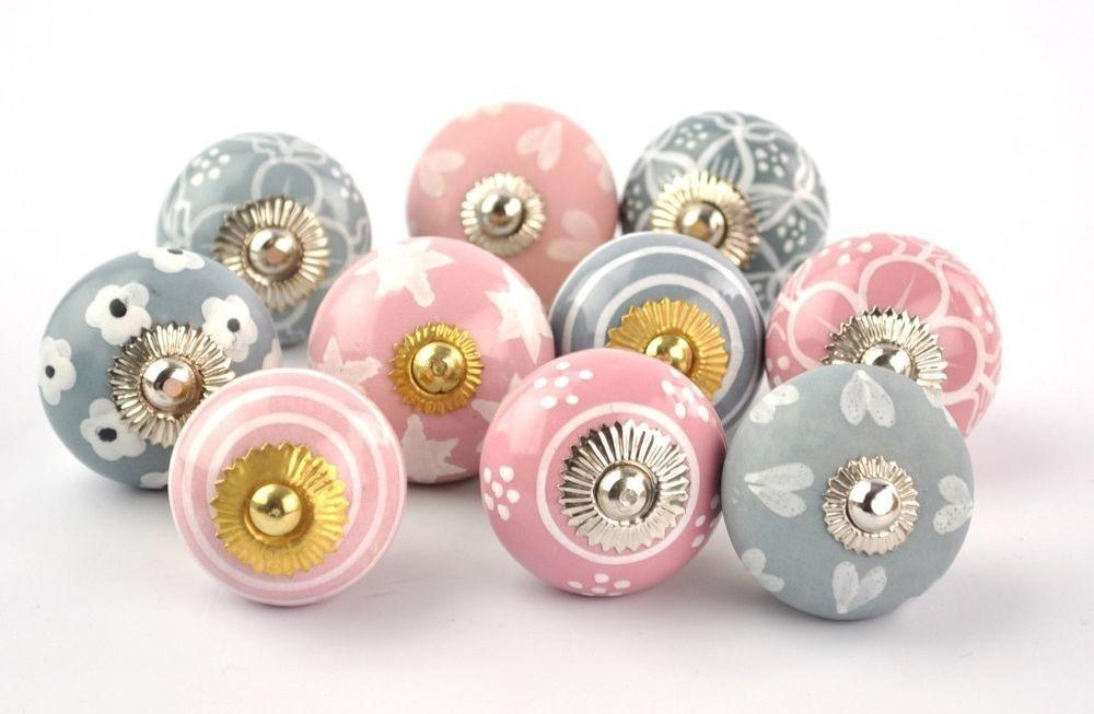 Knobs Pink Grey Hand Painted Ceramic Pumpkin