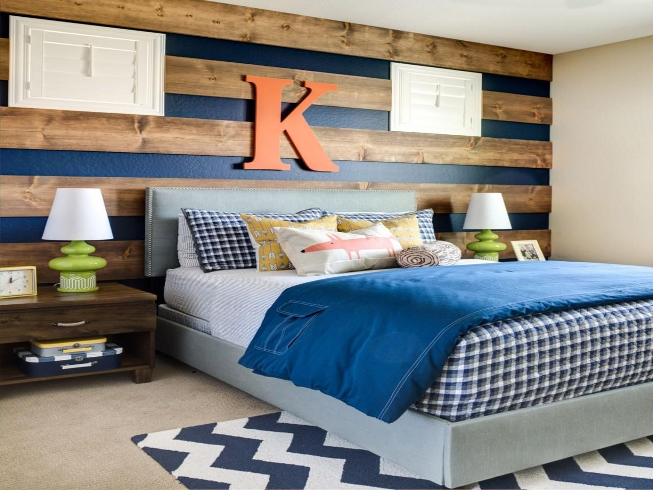 Knotty Pine Bookcase Accent Wall Ideas Boys Room