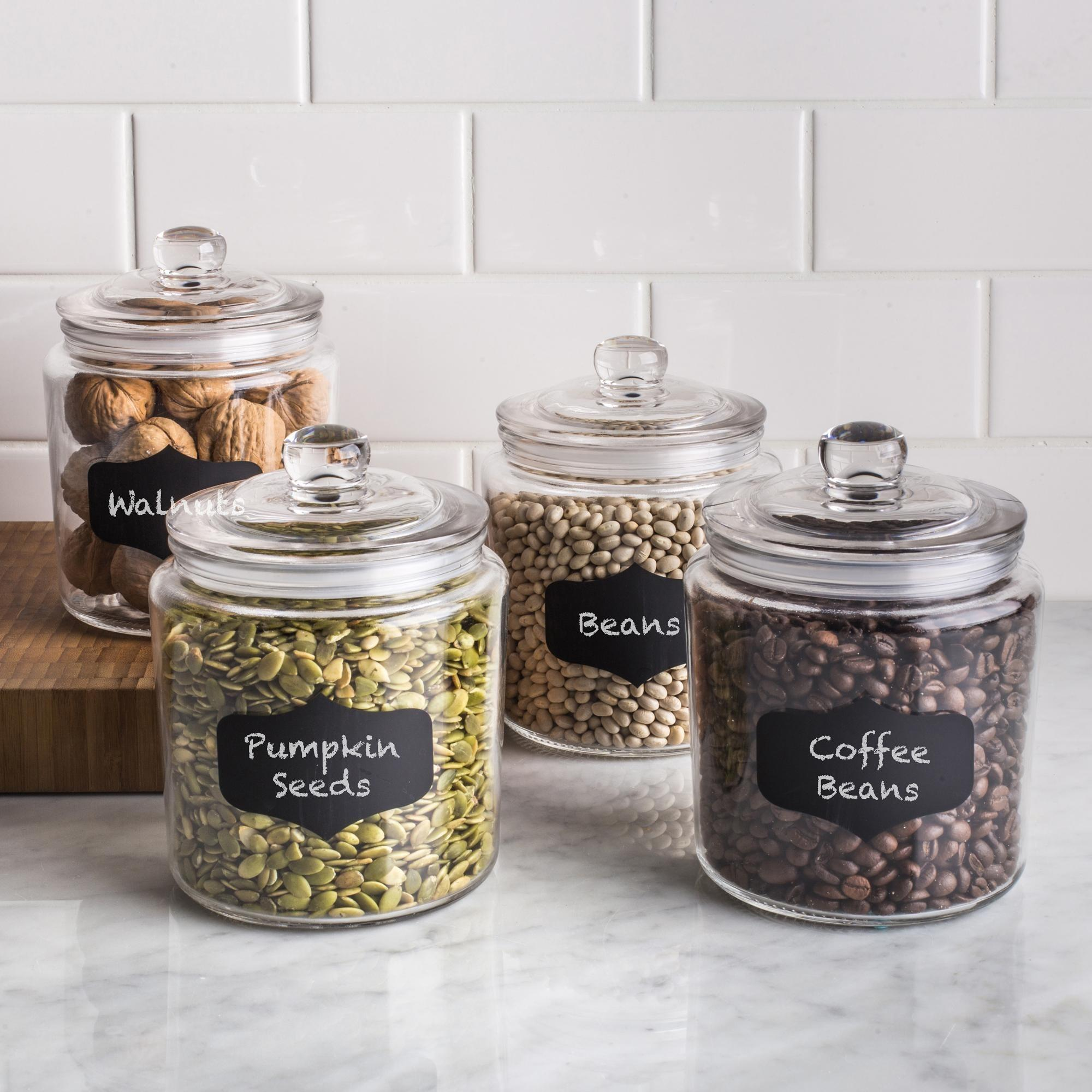 Ksp Chalkboard Glass Canister Lid Set Clear