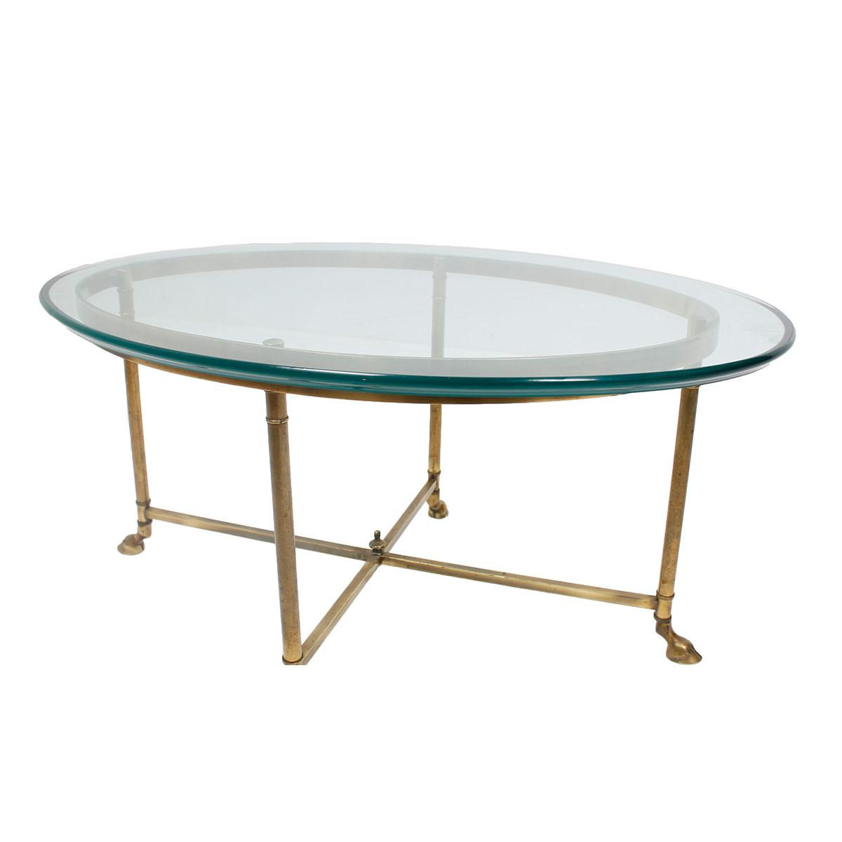 Labarge Coffee Table Vintage Glass Brass