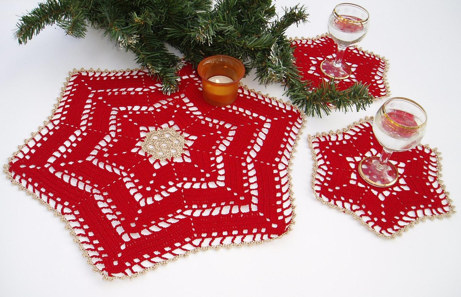 Lace Crochet Christmas Table Decoration
