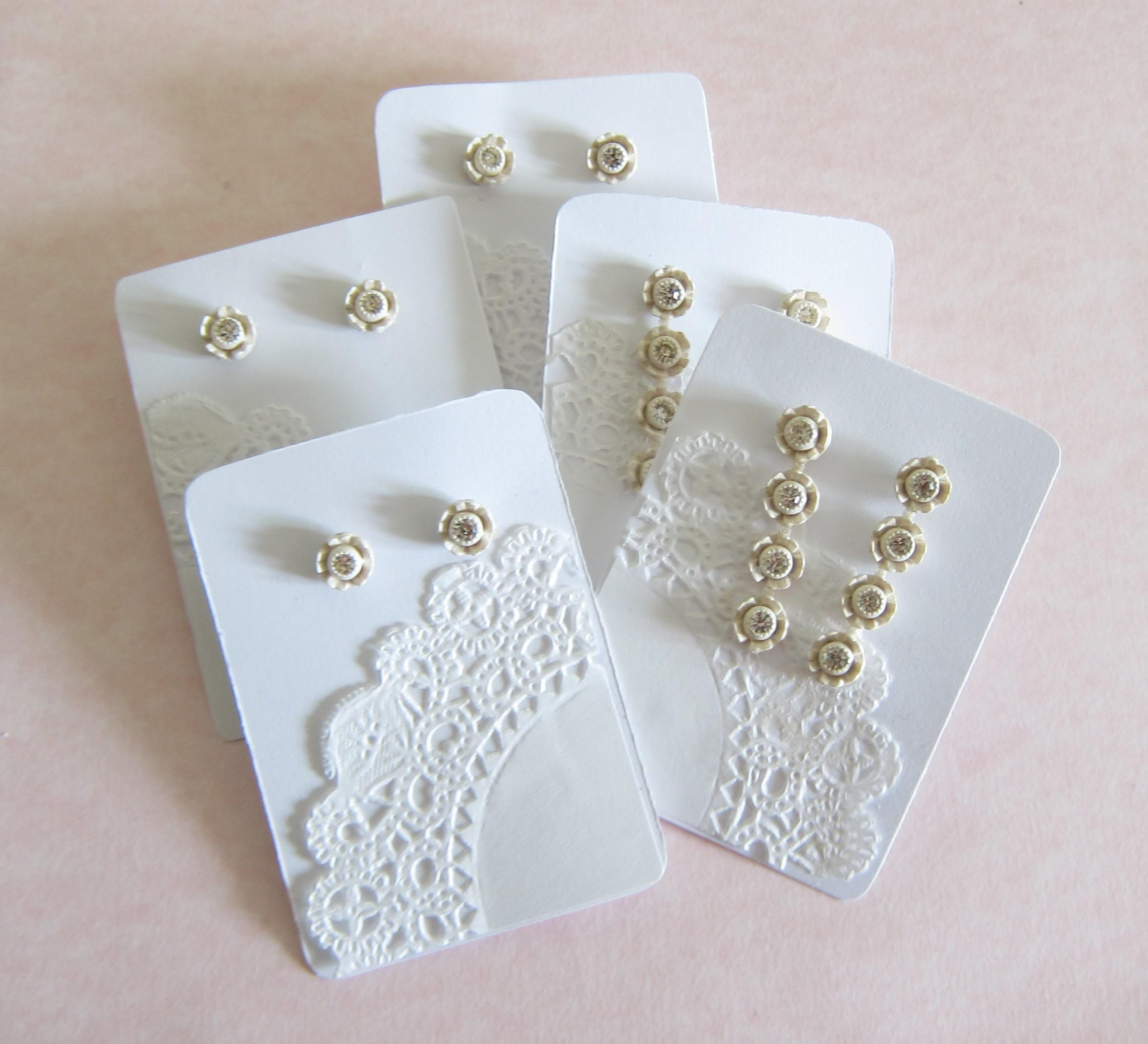 Lace Doily Earring Display Cards Brown Eyed Rose