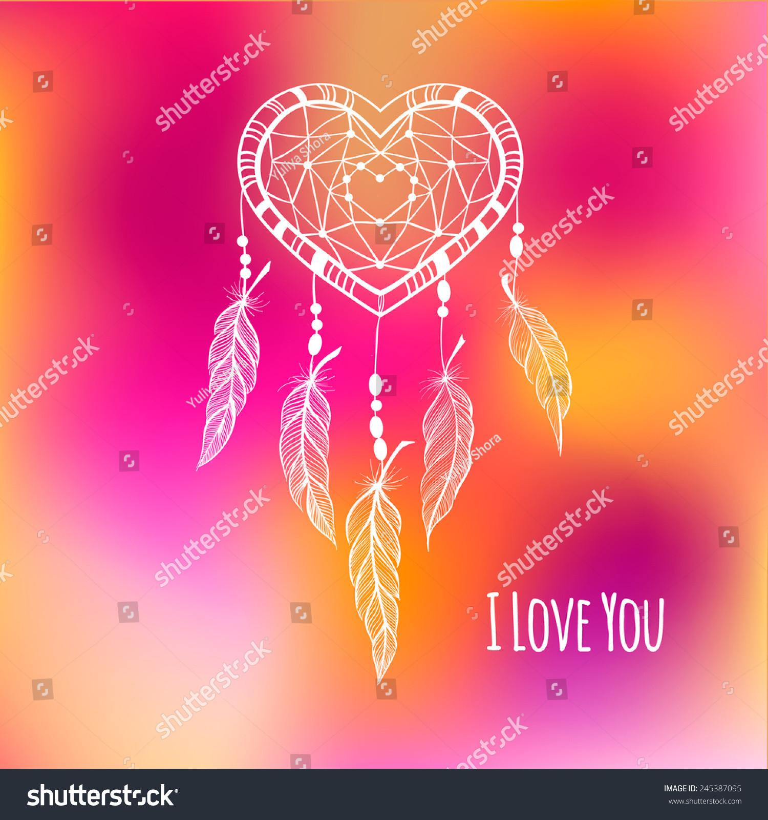 Lace Heart Shape Dream Catcher Valentines Stock Vector