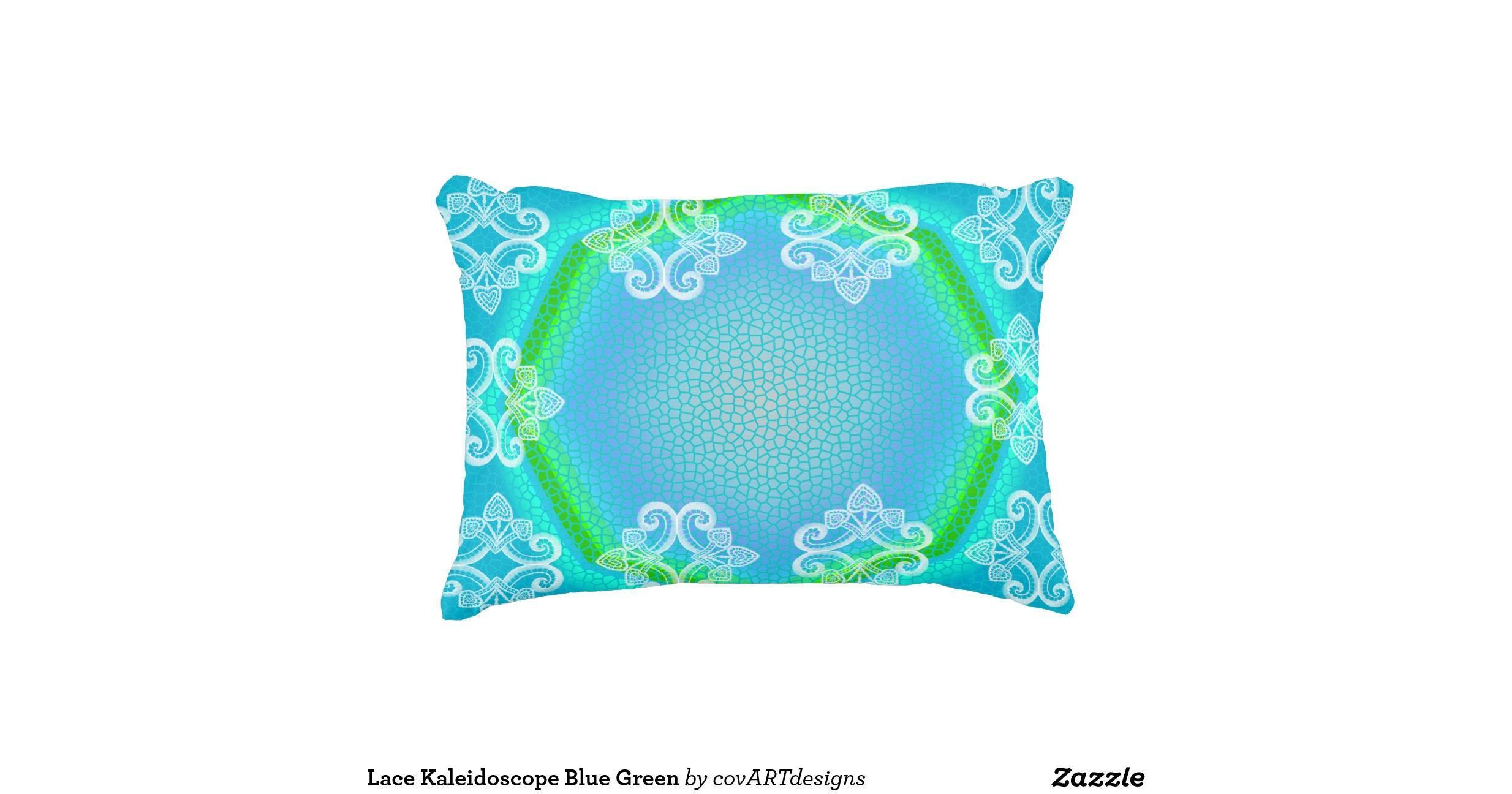 Lace Kaleidoscope Blue Green Accent Pillow Zazzle