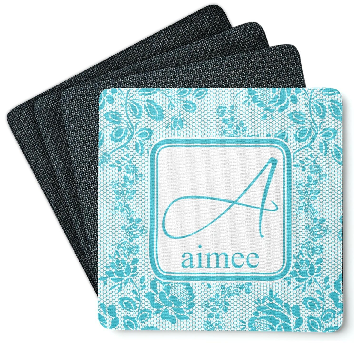 Lace Square Coasters Rubber Backed Personalized