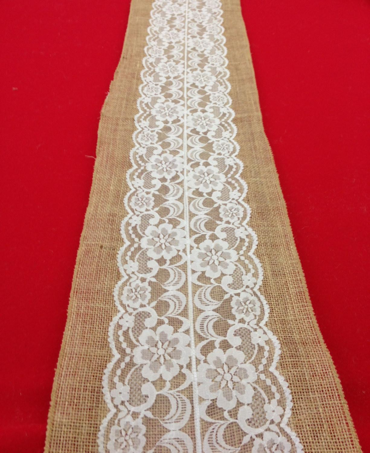 Lace Table Runner Burlap Choose White Ivory