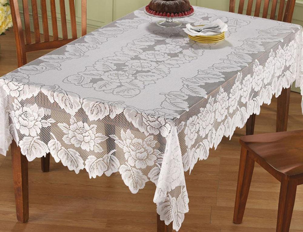 Lace Tablecloth Rectangle White Hand Floral Rose Cover