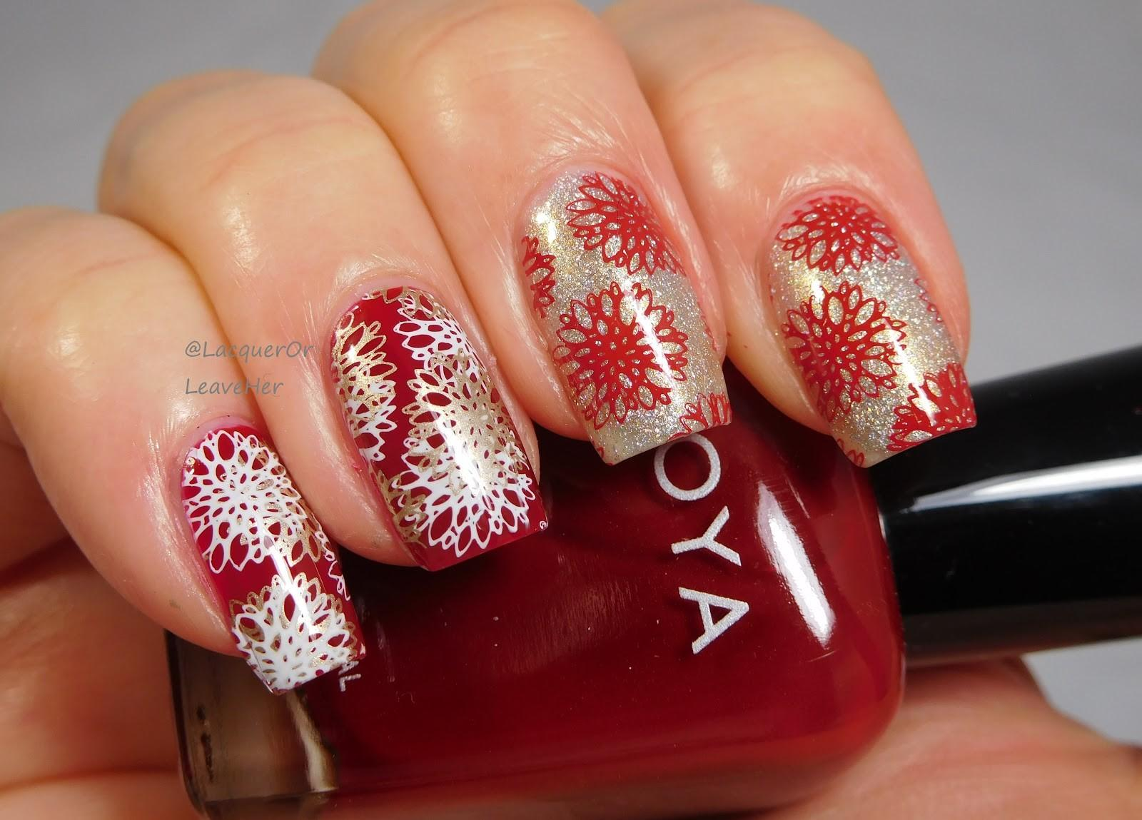 Lacquer Leave Her Notd Tutorial Holiday Flowers