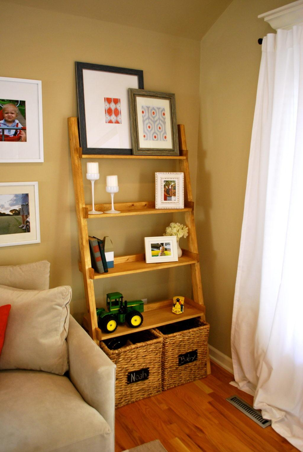 Ladder Bookcase Decorating Theme Features Mahogany Wood