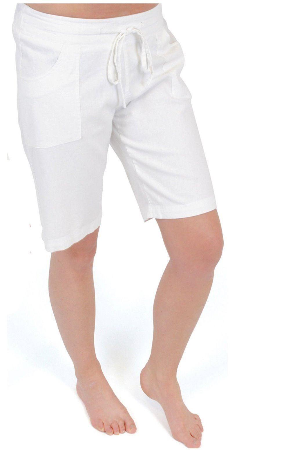 Ladies Womens Linen Shorts Relaxed Fit Casual Bottoms