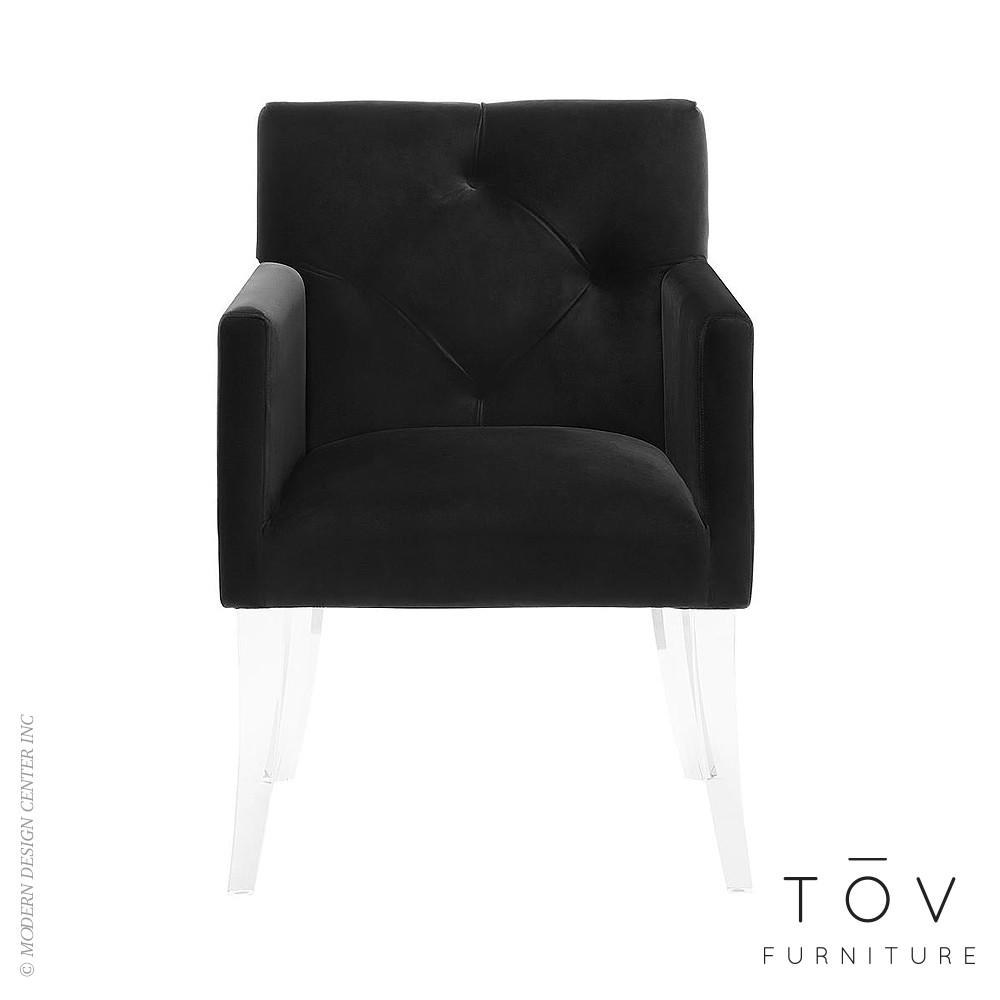 Lafayette Black Velvet Acrylic Chair Tov Furniture