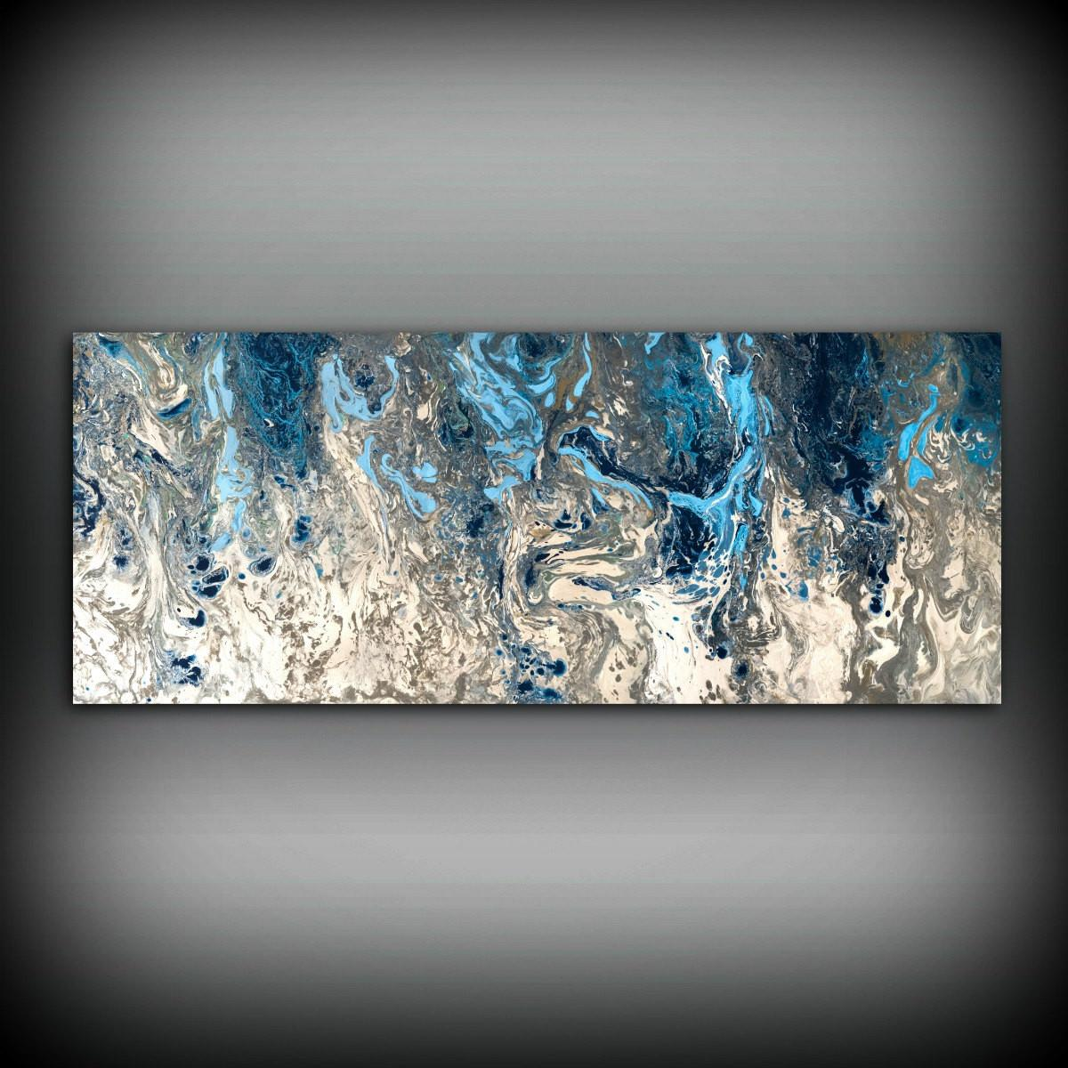 Large Abstract Painting Print Navy Blue Art
