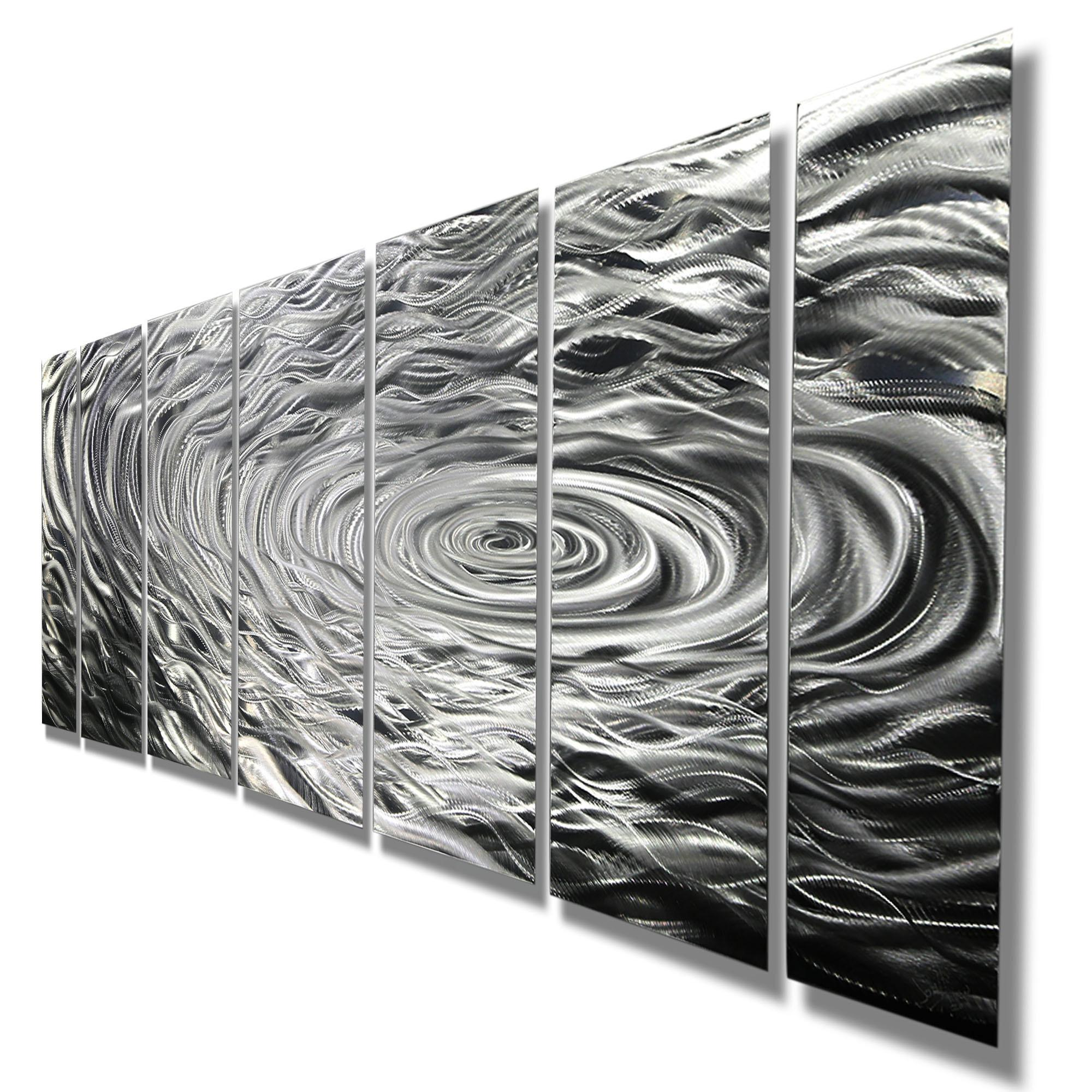 Large Abstract Silver Metal Wall Art Painting Decor