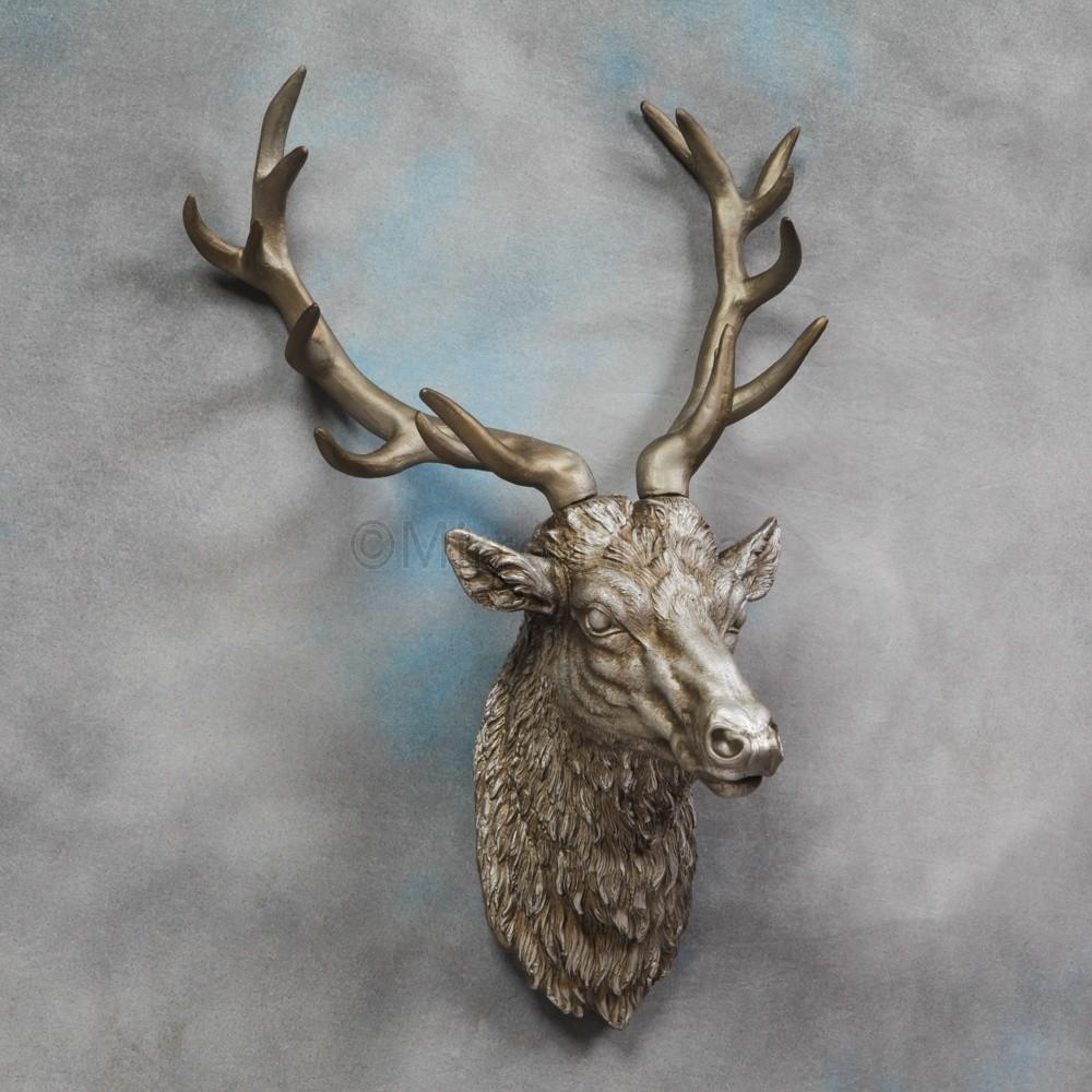 Large Antique Silver Stag Wall Head Unusual Accessories