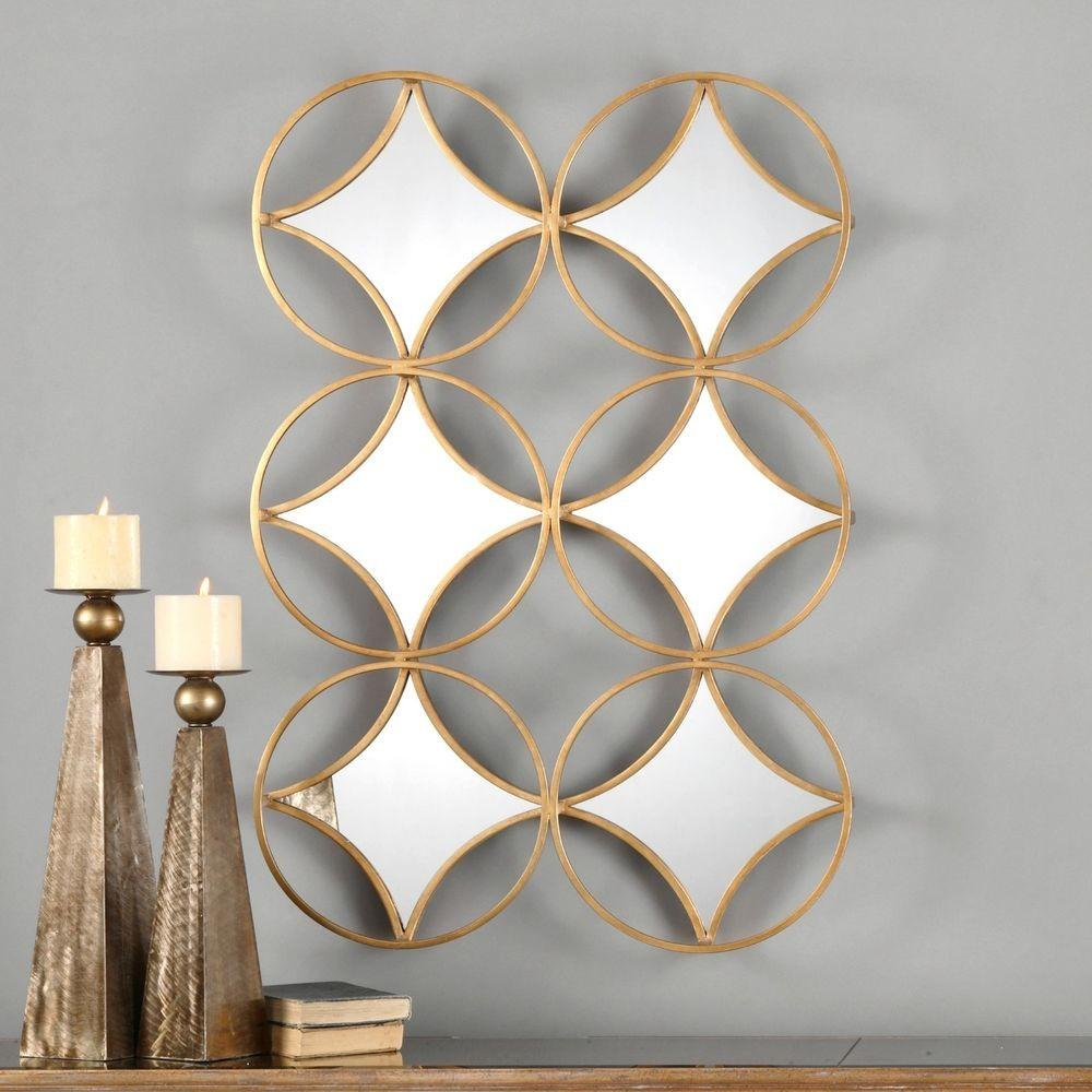 Large Antiqued Gold Leaf Wall Art Mirror Curved Metal