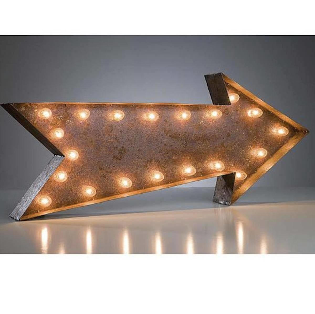 Large Arrow Vintage Marquee Sign Lights Rustic