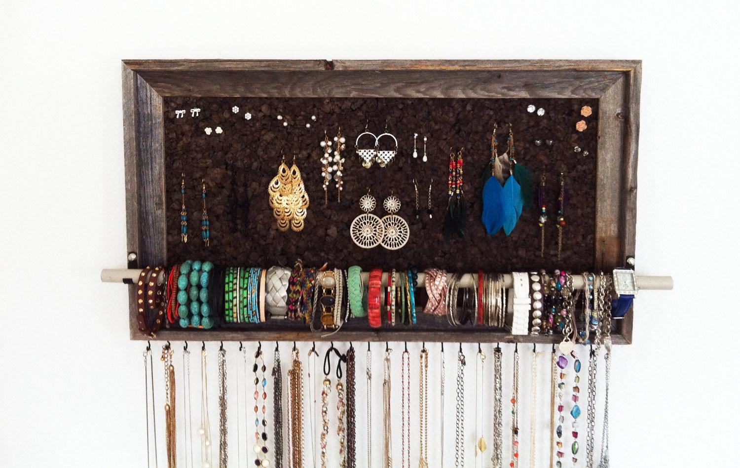 Large Barn Wood Jewelry Organizer