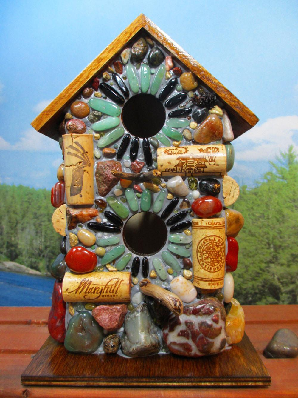 Large Birdhouse Mosaic Wine Cork Natural Stone Outdoor Art