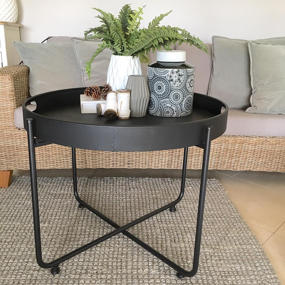 Large Black Coffee Table Serving Tray Top Iron Legs Modern
