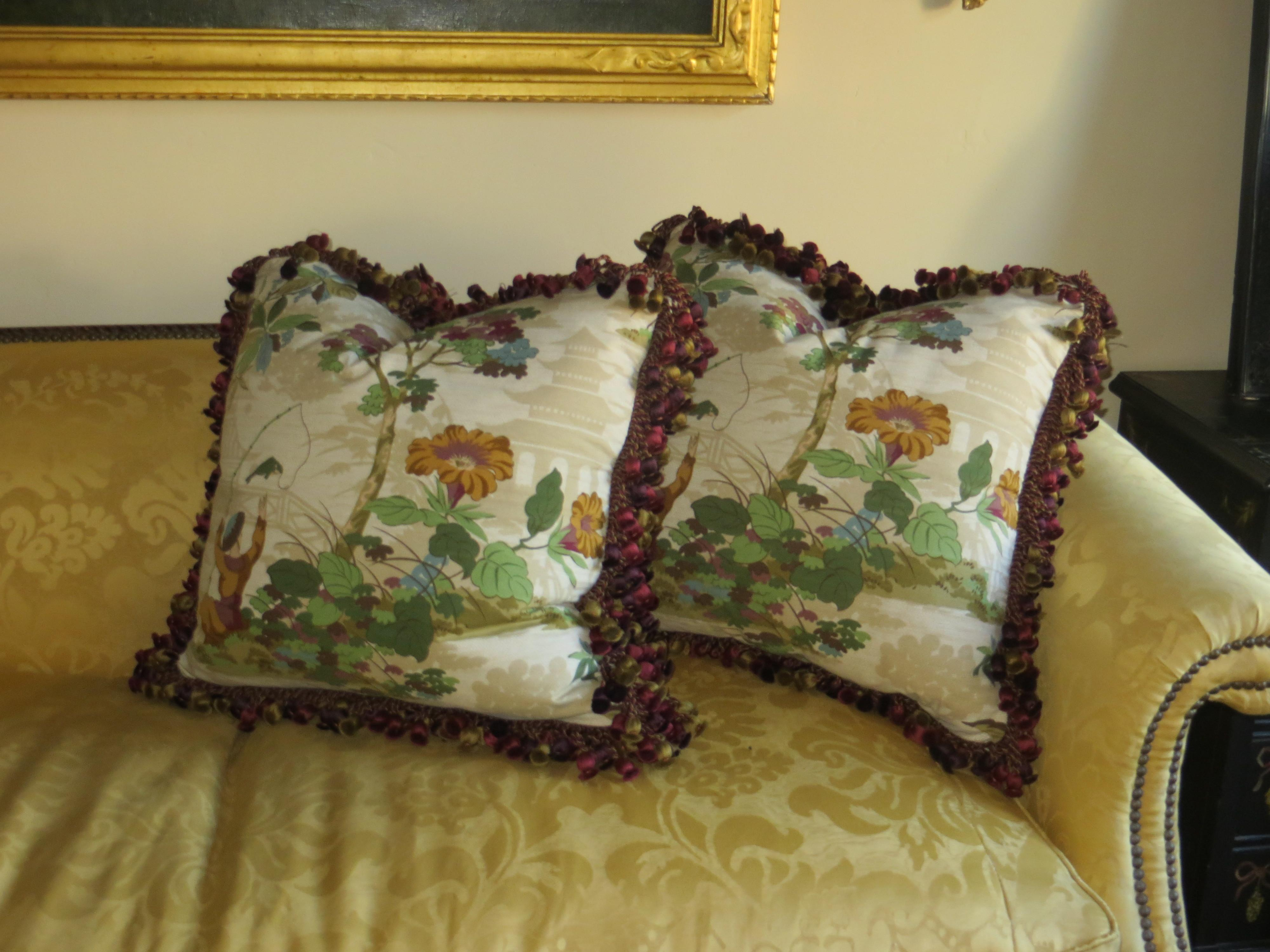 Large Chinoiserie Pillows Silk Fringe Pair Omero Home