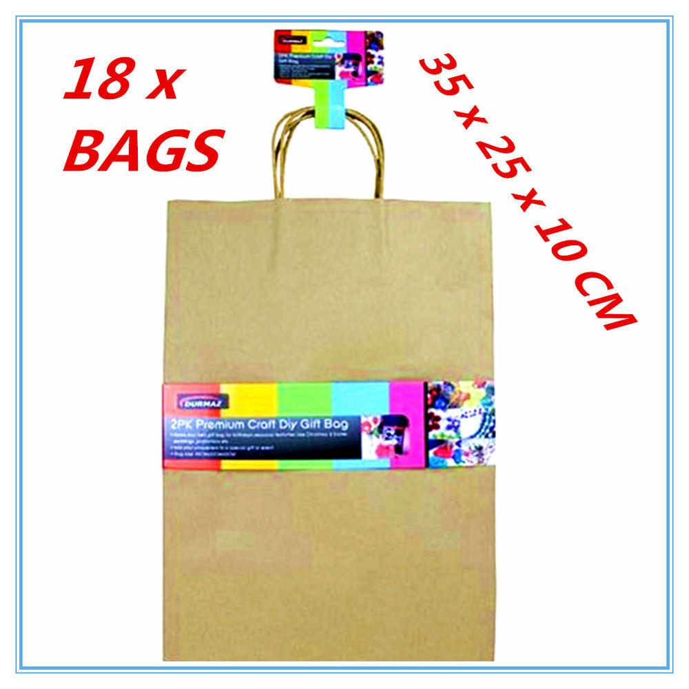 Large Craft Diy Brown Gift Bags Handle Party