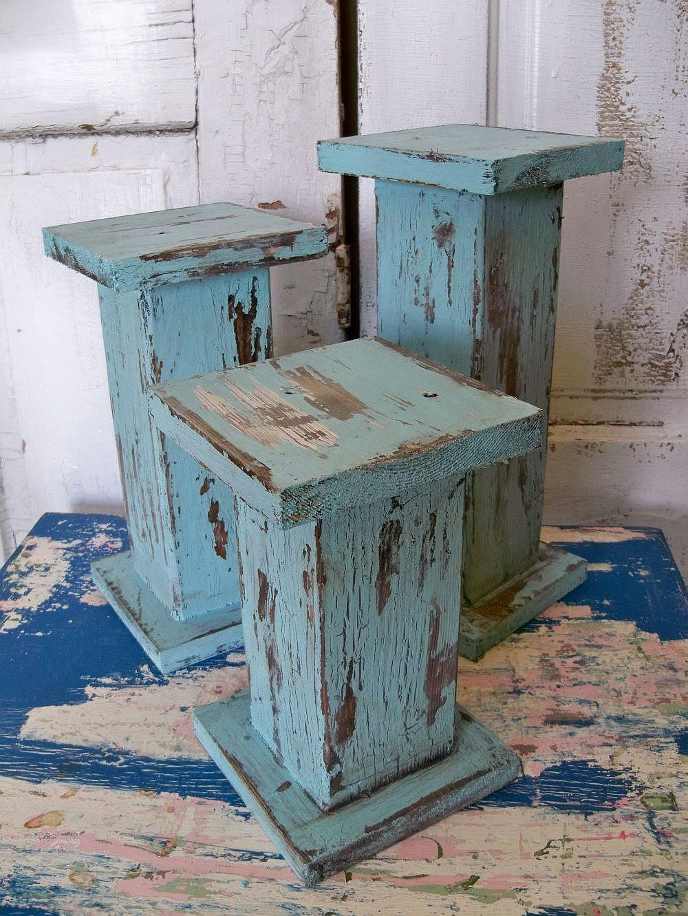 Large Distressed Pillar Candle Holders Hand Made Wooden Shabby