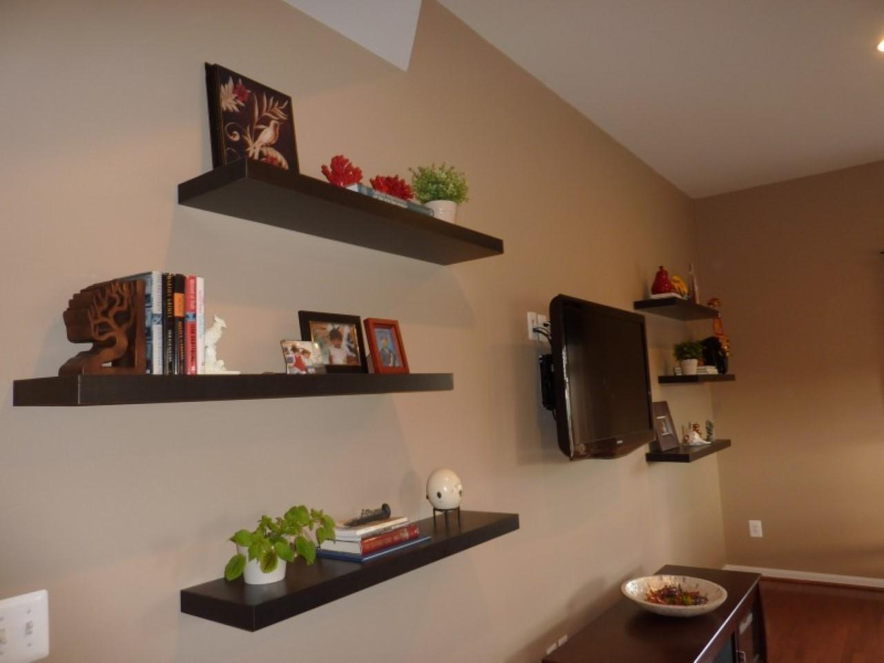 Large Espresso Floating Shelves Around Wall Mounted