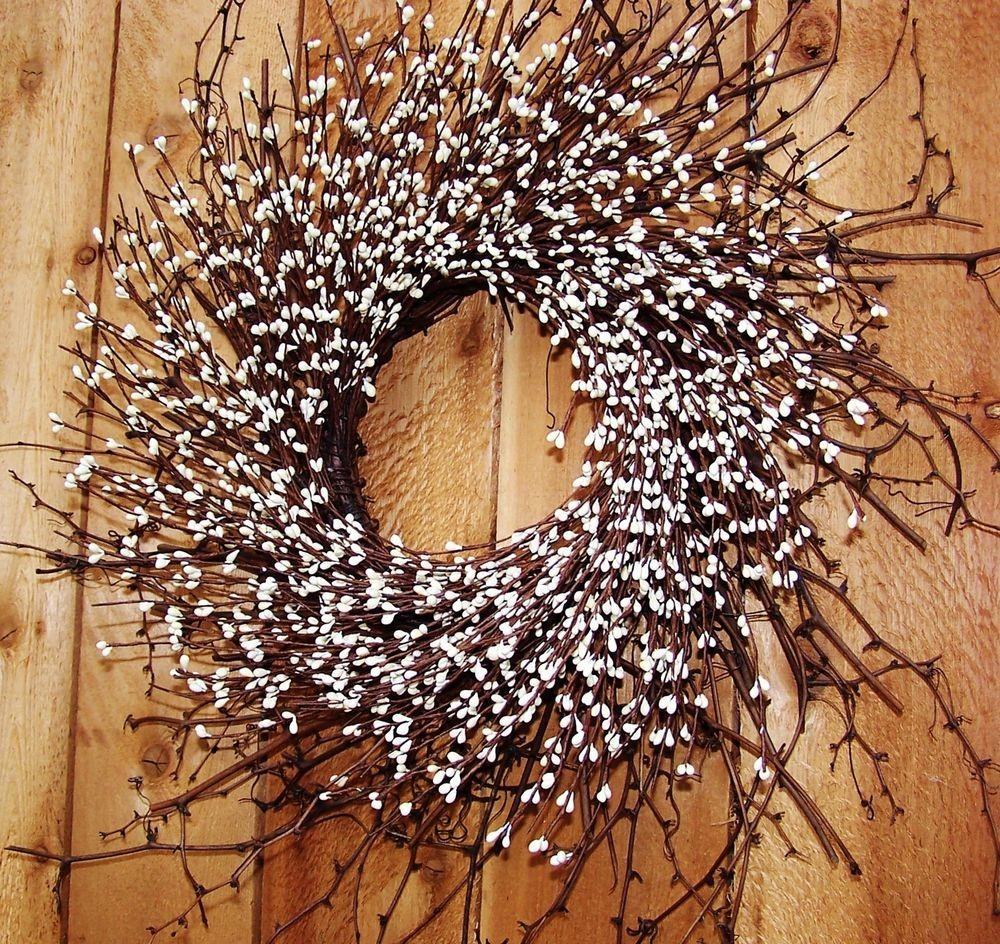 Large Fall Winter Wreath Floral Country Antique White