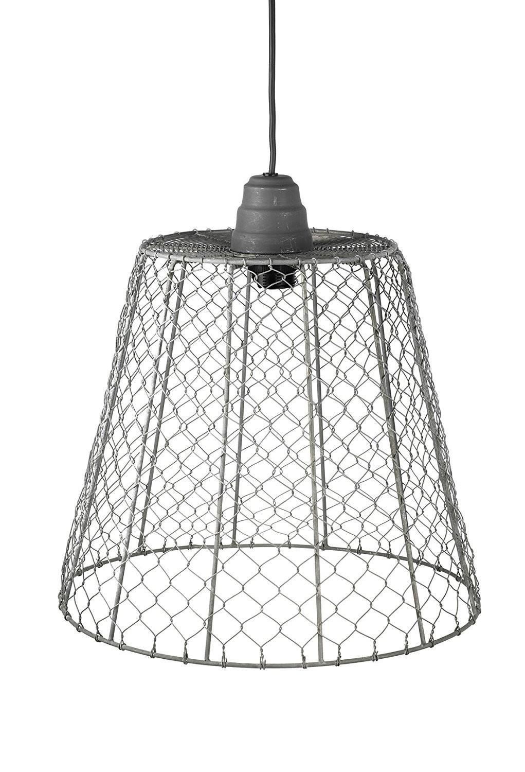 Large Farmhouse Wire Ceiling Lamp Shade Grey
