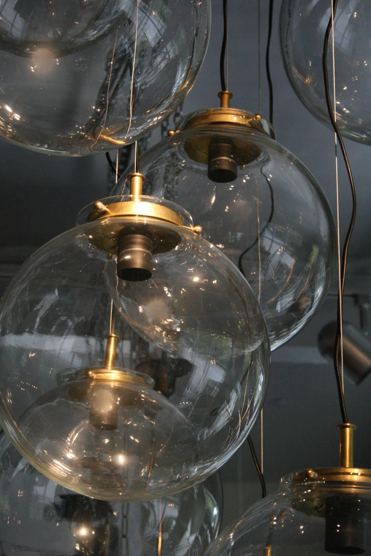 Large French Brass Cascading Chandelier Glass Globes