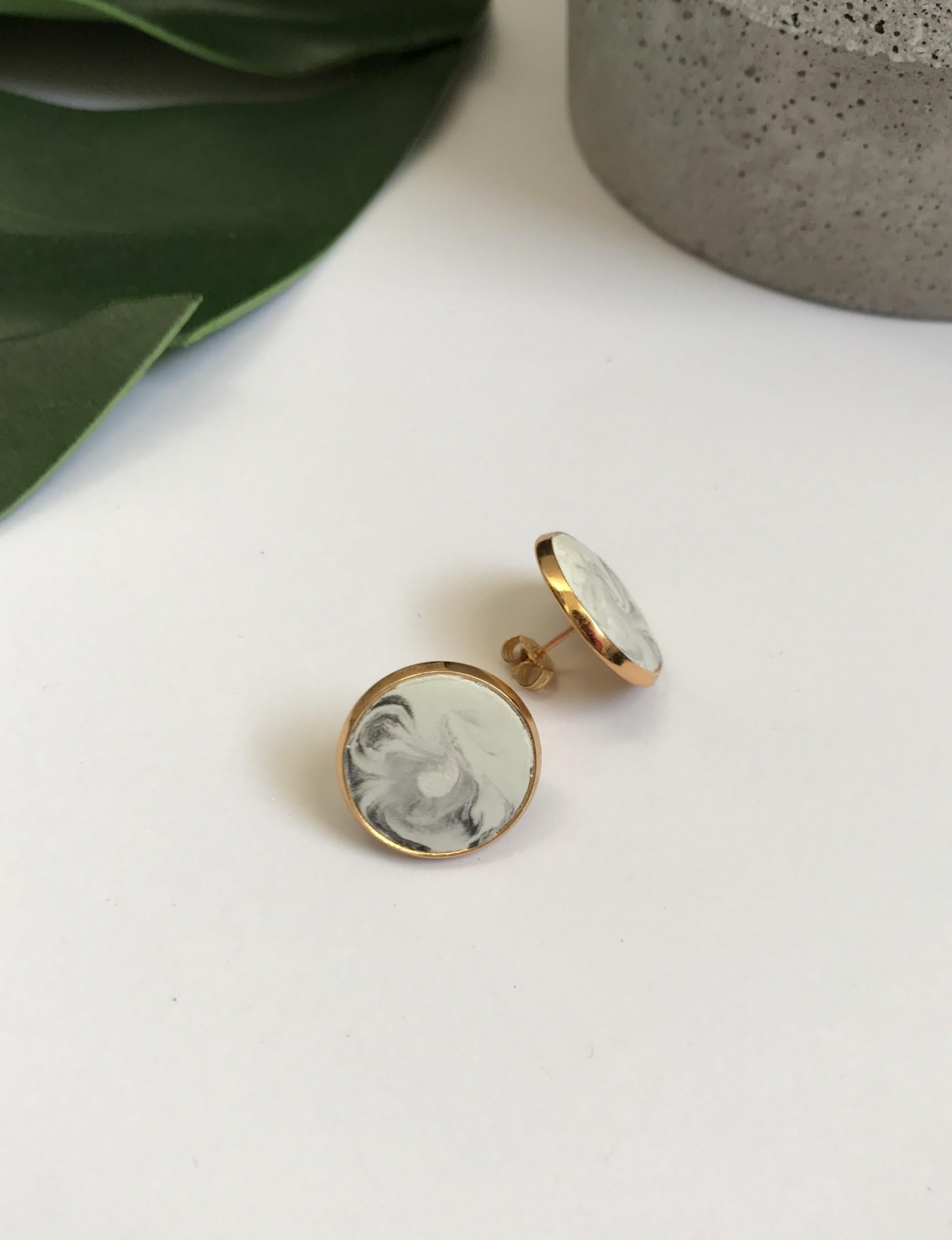 Large Gold Essential Studs Marble Concrete