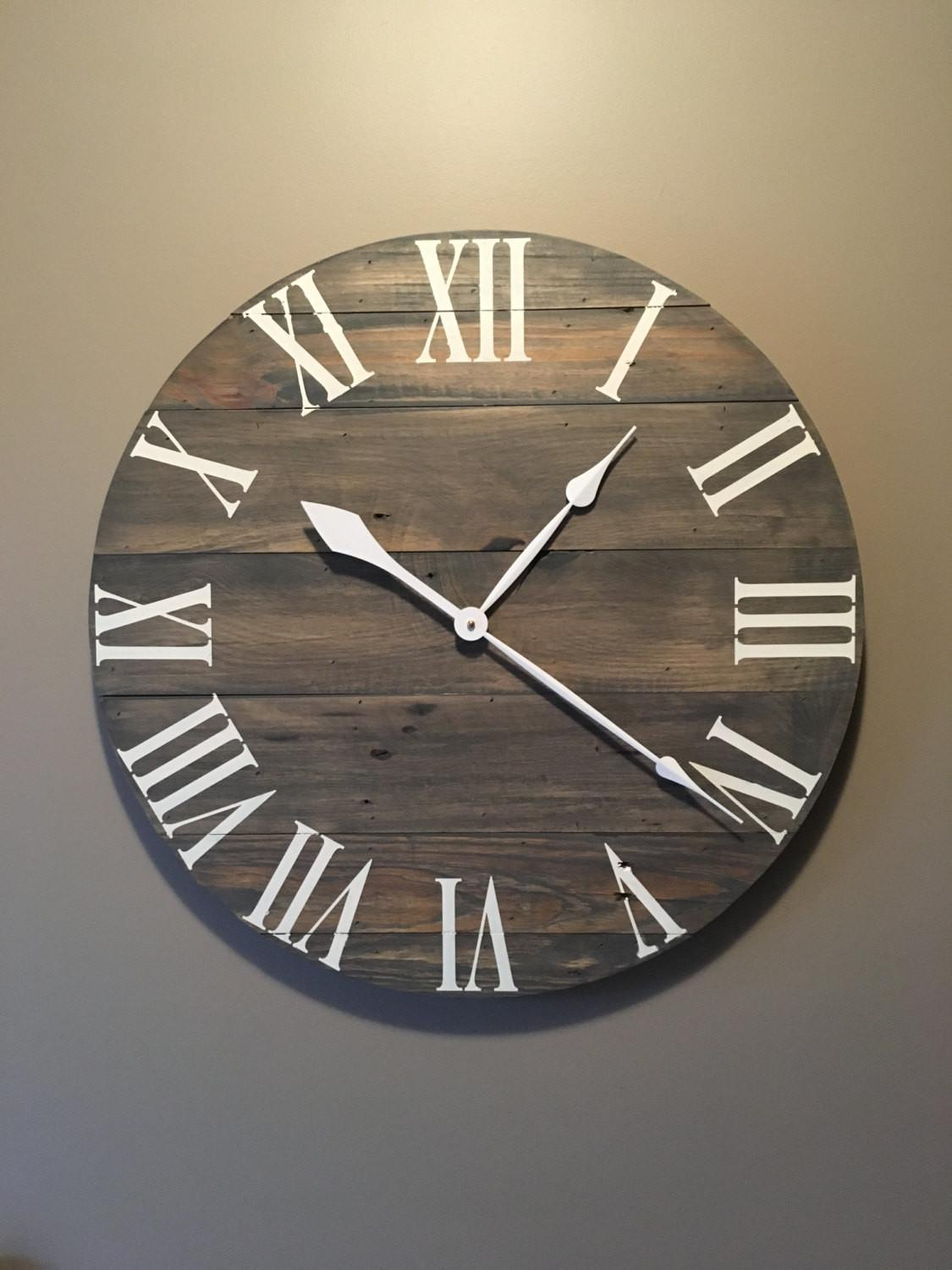 Large Gray Rustic Wood Clock Pallet Reclaimed
