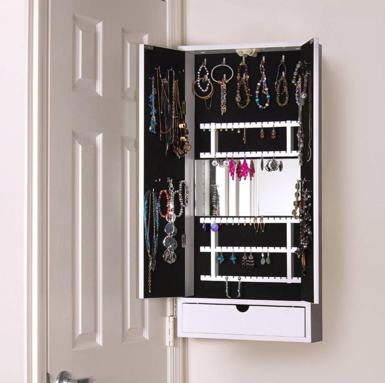 Large Hidden Wall Mounte Jewelry Armoire Drawers