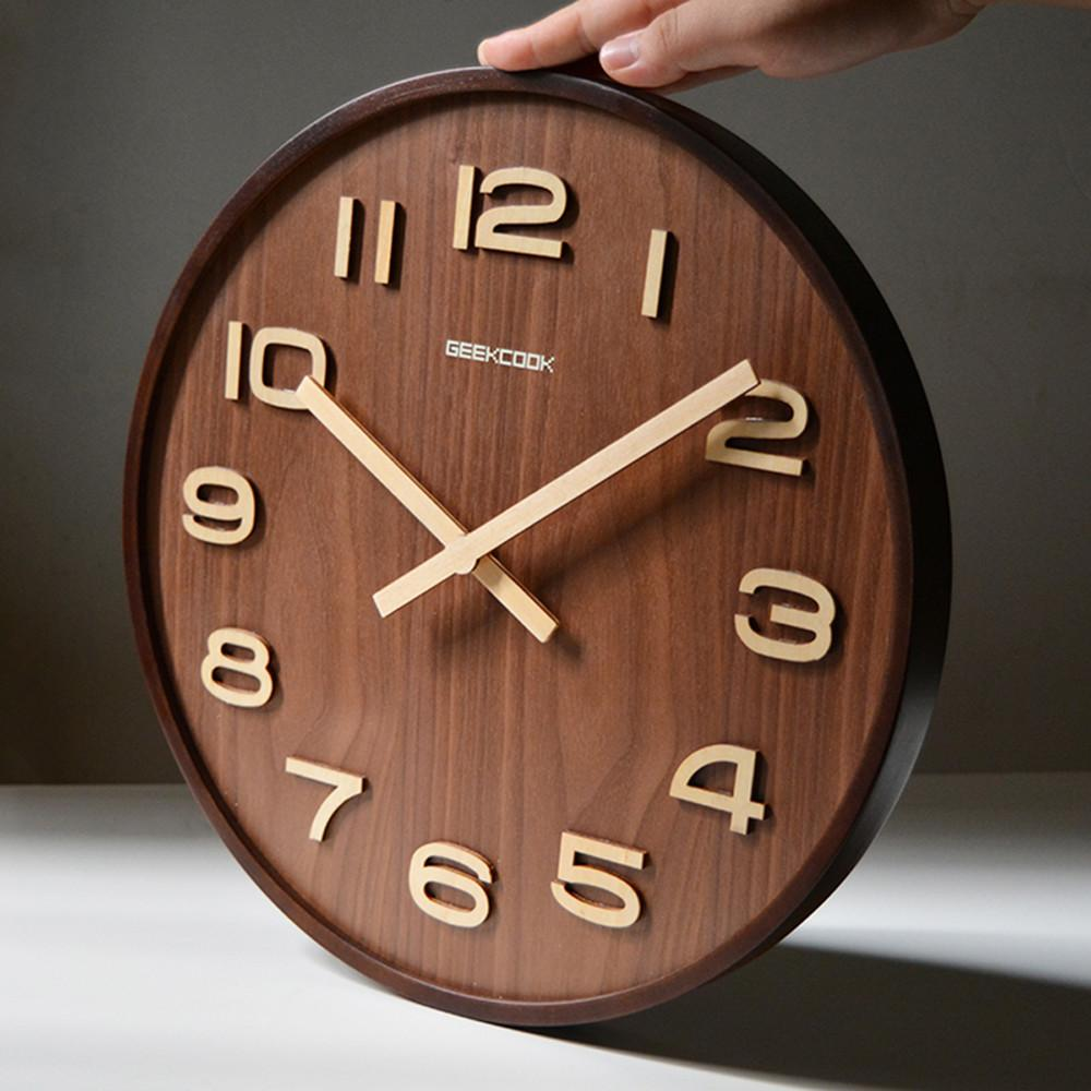 Large Inch Bamboo Wood Wall Clock Simple Modern Design