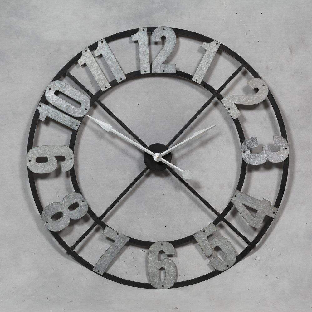 Large Industrial Style Galvanised Numerals Wall Clock