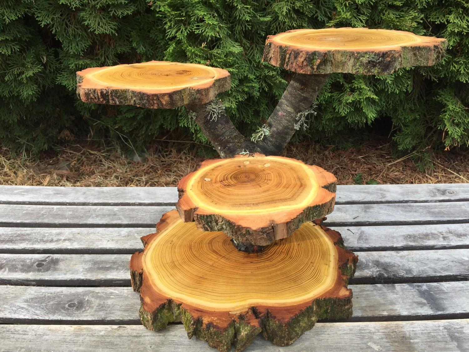 Large Log Black Locust Wood Rustic Cake Cupcake Stand