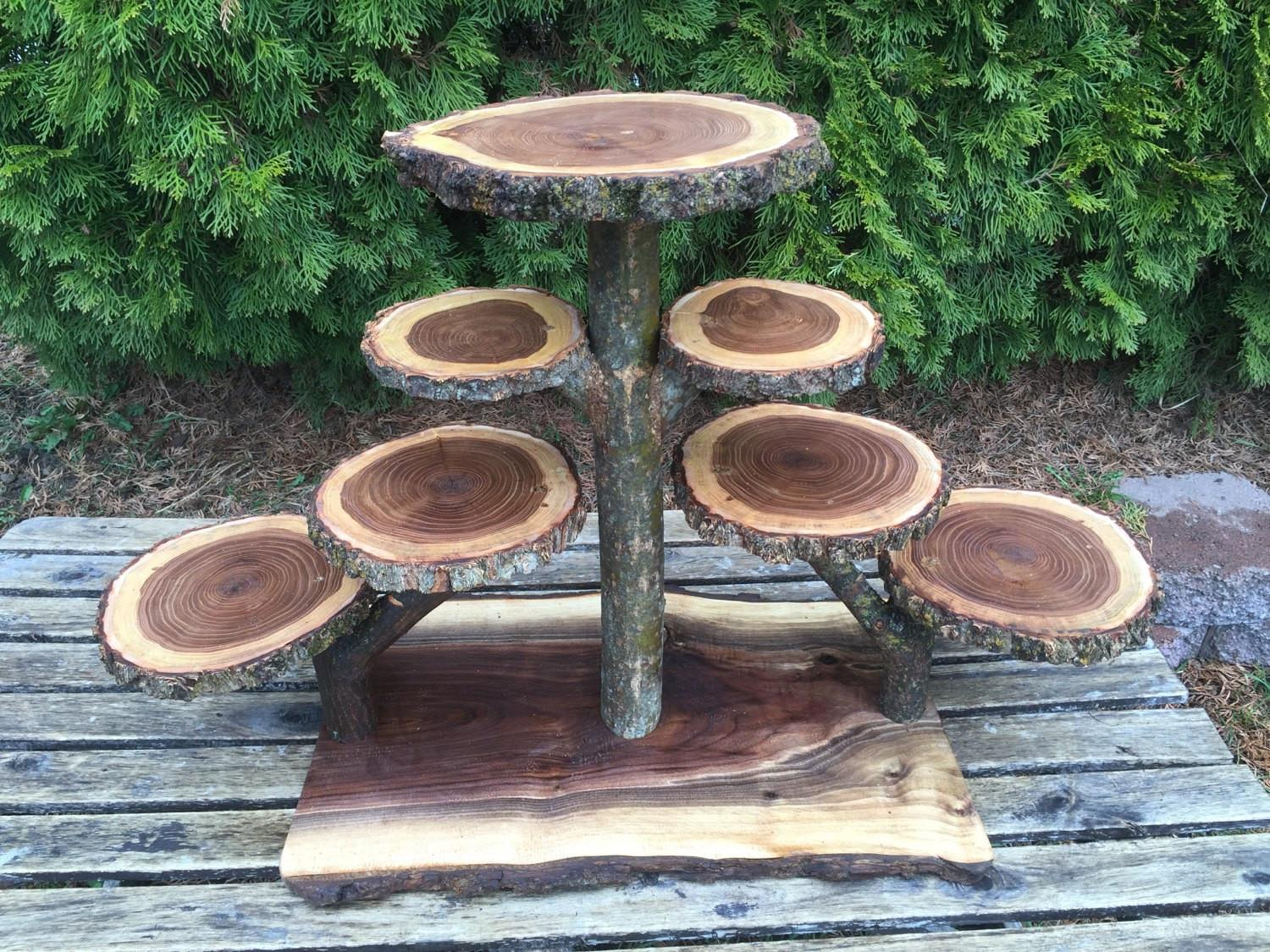 Large Log Elm Wood Rustic Cake Cupcakes Pie Stand Wedding