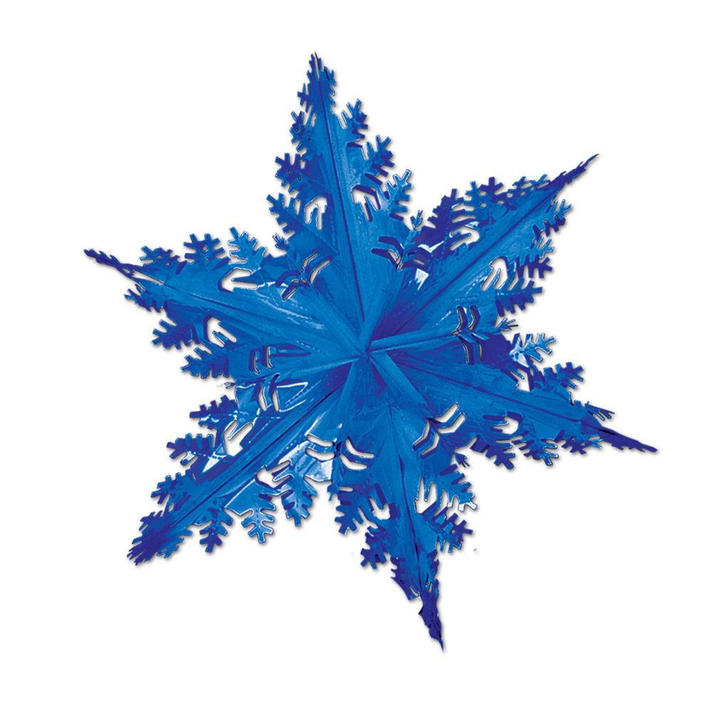 Large Metallic Blue Snowflake Hanging Foil Christmas