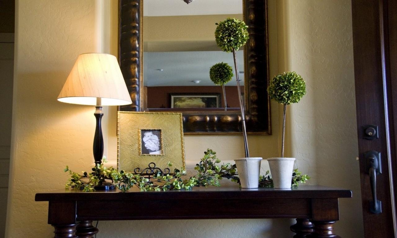 Large Mirrors Wall Foyer Table Decorating Ideas