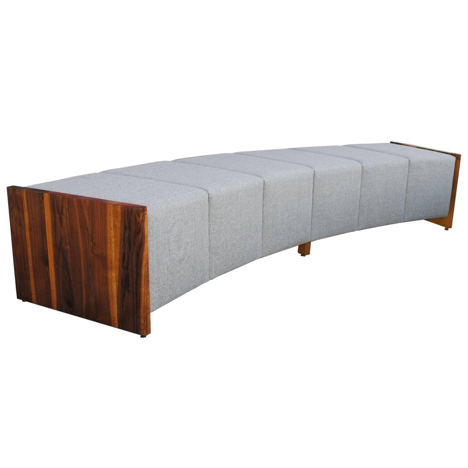 Large Modern Curved Upholstered Walnut Bench Sale