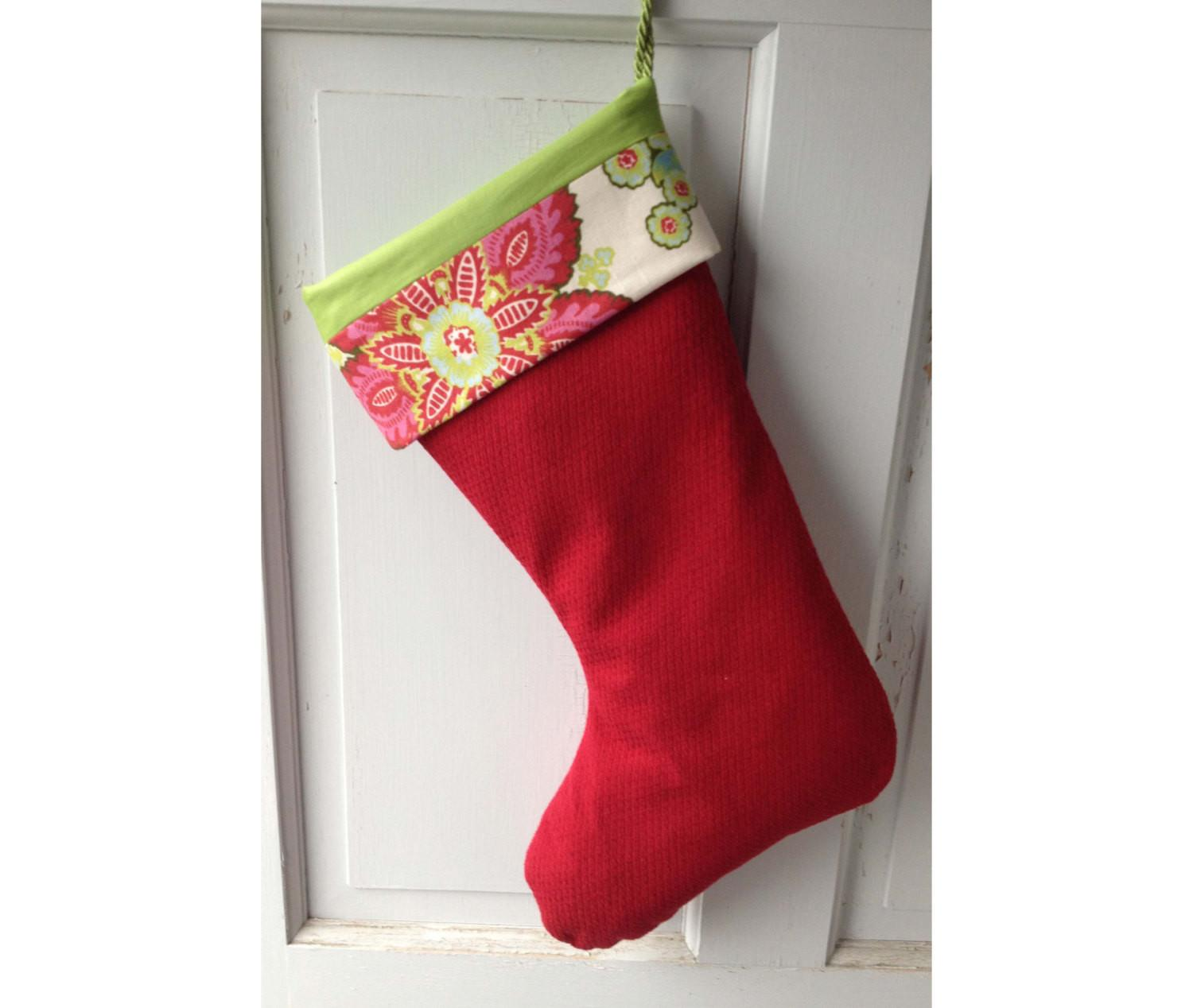 Large Modern Red Christmas Stocking Floral Cuff