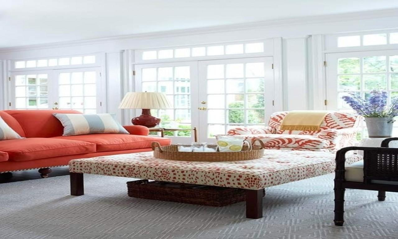 Large Ottoman Coffee Tables Coral Colors Living Room