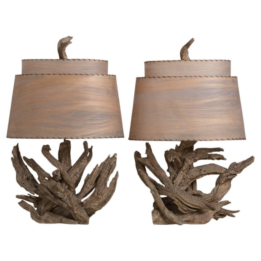 Large Pair Driftwood Table Lamps 1960s 1stdibs