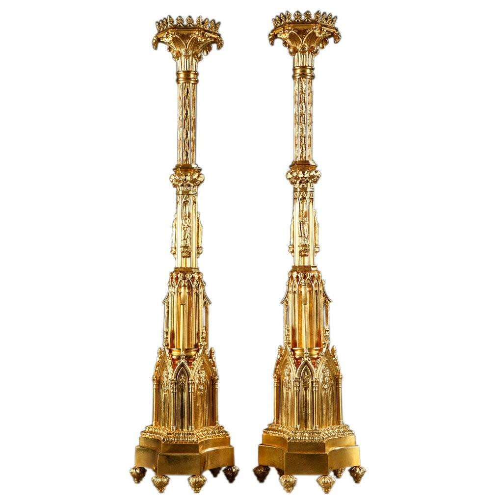 Large Pair French Mid 19th Century Gothic Style Gilt
